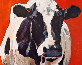 Holstein cow PRINT 11 x 14 paper Black and White cow print Red Holstein cow art Holstein painting Cow painting Cow decor Holstein print