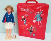 Vintage 1960s Ideal Tammy Doll with Carrying Case, Stand, Booklet, Pet Dog, Camera, Ice Skates, Outfits & Accessories