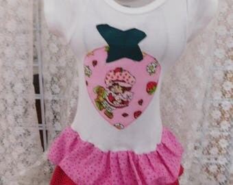 Strawberry Shortcake Baby Girl Onesie Dress Party Birthdays Gift Outfit Baby Shower Gift For Her Events  Outings  Family OOAK Sz 3-9 Mo