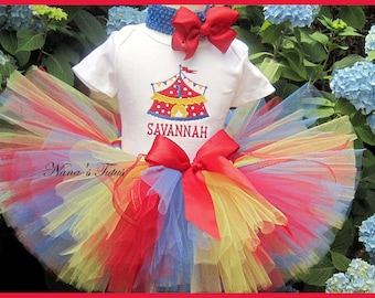 3pc, Party Outfit, Carnival, Theme Party, Personalized, Circus Party, Tutu Set in Sizes 1yr thru 4yrs