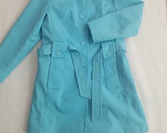 Vintage Women's Blue Raincoat Lined Removable Faux Fur Lining Size 8 Trench 1970s