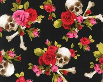 Skulls Out Red Rose - Michael Miller - Cotton Woven fabric by the yard sewing quilting