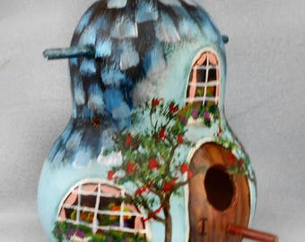 Thashed Roof Blue Bird House Gourd Original Hand Painted