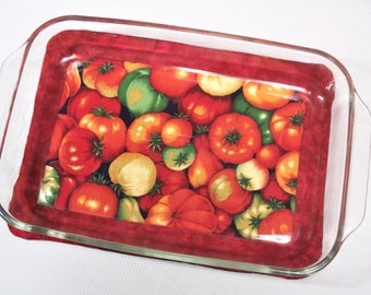 Fresh Tomatos, Oversize Large Hot Pad for Casserole Dish, Red, Insulated, Heat Resistant, Quilted, Trivets, Shower Housewarming Gift