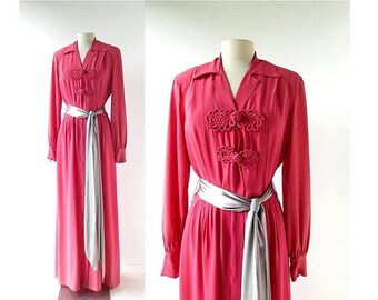 20% off sale Vintage 1940s Gown | Hostess Dress | Dressing Gown | As Is | Medium M