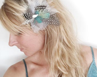 Feather Fascinator, Hairpiece, Bridal Hair Clip
