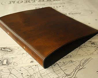 A4 Brown Leather 2 Ring Binder, Presentation Folder, Brown Leather Ringbinder, Leather File, Leather Stationery, Free Personalisation.
