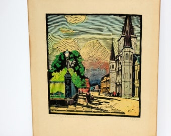 Wood Block Print of 1930s Cabildo Jackson Square, New Orleans French Quarter, Vintage Woodblock Woodcut Signed and Hand Colored