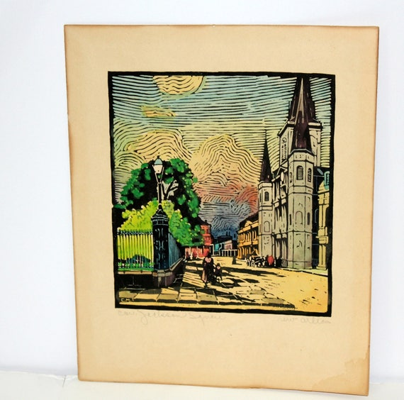 Vintage Wood Block Print, 1930s Cabildo Jackson Square, New Orleans French Quarter, Woodblock Art Signed and Hand Colored