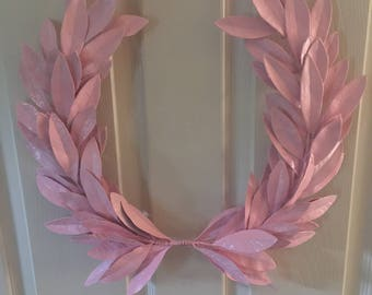 Year-round Everyday Baby Girl PINK Laurel Bay Leaf Crest Wreath  Peace Honor Victory Wedding Olympic Holiday Birthday Faux Artificial