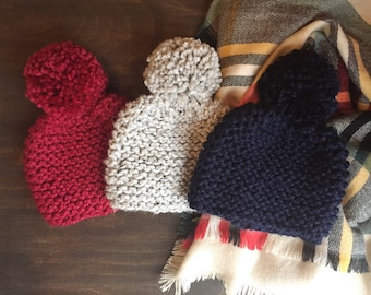 Winter Knit Hat with Oversized Pom in RED