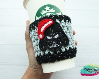 Christmas Coffee Cozy { Darth Vader Santa Hat } holiday Star Wars, glitter stripe cup holder, crochet mug sleeve, mug sweater, planner girl