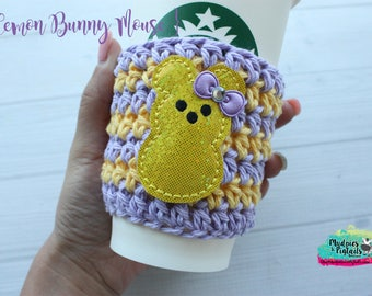 Easter Crochet Coffee Sleeve { Lemon Mouse Bunny } candy marshmallow, cup cozy, knit mug sweater, starbucks gift, frappuccino holder