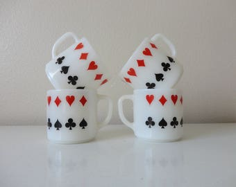 VINTAGE SET of 4 federal milk glass MUGS - hearts diamonds spades clubs - card night - bridge club - poker night