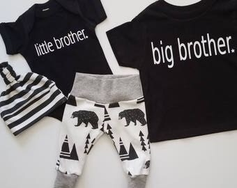 Baby Boy Newborn Take Home Outfit. Big Brother T. Little Brother. Bears and Tipis. Bring Home Baby Outfit. Boy Coming Home Outfit.
