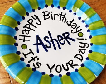 "10"" or 7"" CUSTOM handmade ceramic birthday plate by Artzfolk choose tour colors"