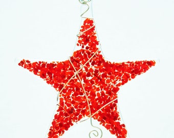 Glassworks Northwest - Sprinkle Star Red - Fused Glass Suncatcher or Ornament