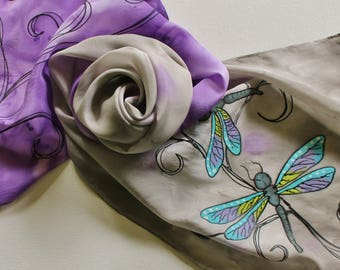 Hand Painted Silk Scarf - Handpainted Scarves Dragonflies Dragonfly Purple Violet Gray Grey Silver Black