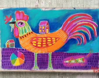 Folk Art Rooster Painting on Rustic Wood