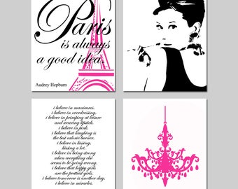 Audrey Hepburn Wall Art Hot Pink and Black Paris Decor Set of 4 Audrey Hepburn - Paris Is Always A Good Idea, Chandelier, I Believe in Pink