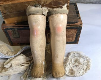 Antique Large Composition Doll Parts Legs Vintage Doll with Distressed Worn Patina Oddity Scary Doll Parts- N19