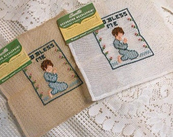 2 GOD BLESS ME Preworked Canvas to Embroider Kids in Pjs Saying Prayers 10 by 10 Vintage Bucilla Canvas 22030 Virgin Wool Moth Resistant