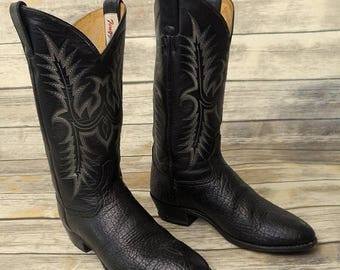 Tony Lama Cowboy Boots Black Leather Distressed Mens Size 9 D Country Western