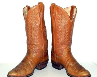 Broken In Tan Brown Tony Lama Cowboy Boots mens size 10 D / womens 11.5 western rockabilly
