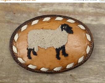 Leather Sheep Belt Buckle Tony Lama Vintage Tan Brown Country Western Cowboy