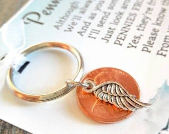 Pennies From Heaven Keychain  - Original Poem - With Penny & Angel Wing Charm