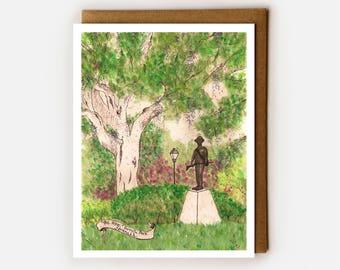 Savannah Card, Blank Card, Savannah GA Souvenir, Forsyth Park, Watercolor Art Card, Oak Trees, Lowcountry Lover, Georgia Card, History Buff