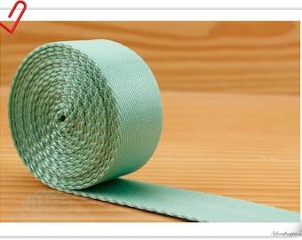 5 yards of 1 inch (25mm) Heavy weight Nylon webbing Mint green ZA99