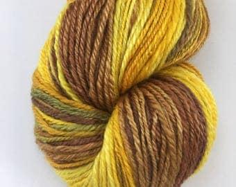 "Handspun Yarn ""Sunflowers"" Fingering Merino & Silk 270 yds."