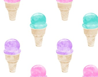 Ice Cream Cone Fabric - Watercolor Ice Cream Cone Pink Purple Teal By Littlearrowdesign - Summer Cotton Fabric by the Yard with Spoonflower