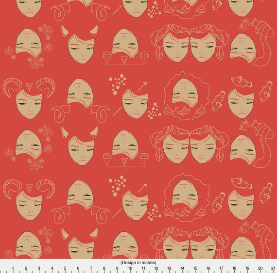 Zodiac fabric the zodiac by annaboo zodiac star sign for Astrology fabric