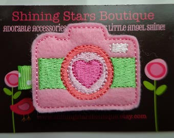 Felt Hair Accessories - Hair Clip - Pink And Lime Green Embroidered Boutique Felt Camera With A Hot Pink Heart Hair Clippie For Kids