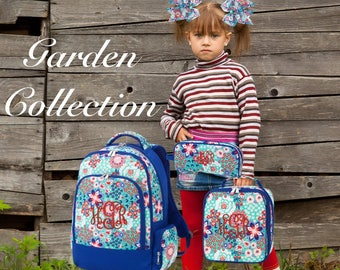 GIRLS personalized backpack , Back To School , kids backpack , lunch box,  monogrammed backpack , girls backpack, GARDEN