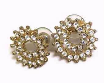 SALE Clear Rhinestone Spiral Circle Earrings Gold Tone Vintage