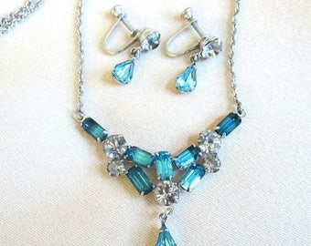 SALE Blue & Clear Rhinestone Necklace and Dangle Earrings Set Vintage Wedding Bridal