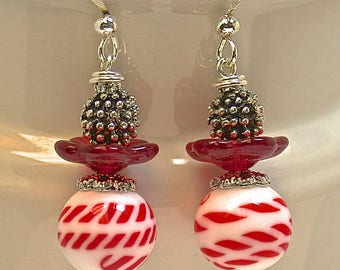 Vintage Japanese White Red Candy Cane Striped Glass Bead Dangle Earrings,Vintage German Red Glass Flower Bead,Silver Beads,Silver Ear Wires