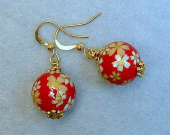 Vintage Japanese Red Tensha Bead Dangle Drop Yellow Daisy Earrings, Gold French Ear Wires - Akane