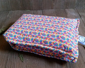 Aromatherapy Neck Pillow Flax Seed Organic Lavender Heating Herbal Therapy Wrap Microwave Heating Pad Rainbow Geometric Free Shipping