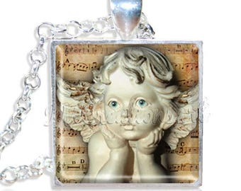 "20% OFF - Victorian Angel Statue 1"" Square Glass Pendant or with Necklace - SQ204"