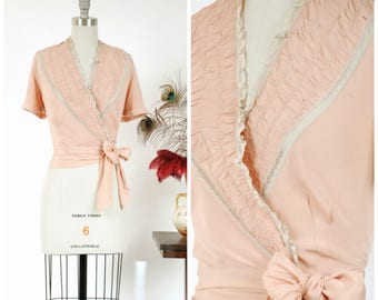 Vintage 1940s Blouse - Flirtatious Pink Rayon 40s Cocktail Wrap Blouse with Ruching, Lace Trim and Side Ties