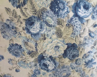 """Vintage Blue Floral Linen Curtain Remnant Fabric 80 x 54"""" / Blue Peonies / Blue flowers / Shabby / French Apartment Fabric"""