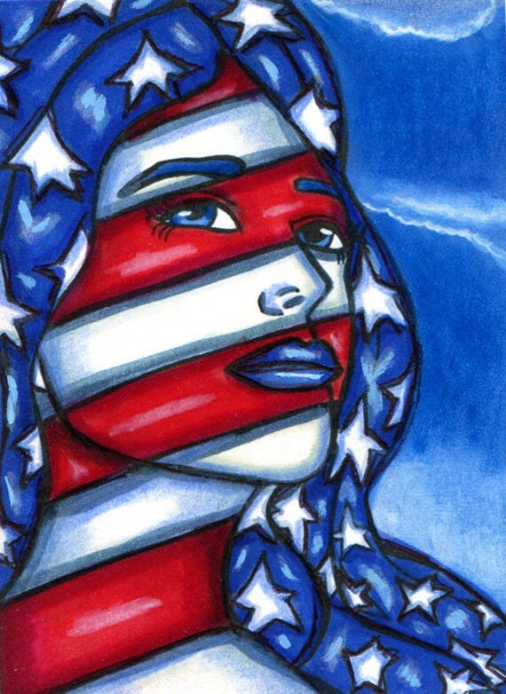 american woman art original painting aceo  trading cards ATC usa flag stars stripes miniature patriotic lady modern contemporary Elizavella