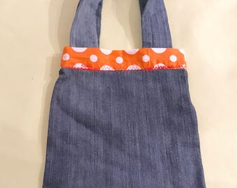 Tote or accessory bag kids toys makeup trinkets recycled denim