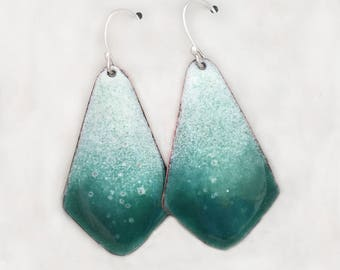 Summer Earrings For Women - Ombre Earrings - Turquoise Dangle Earrings - Boho Earrings - Copper Jewelry - Beach Jewelry - Enamel Earrings