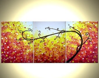 Abstract RED Tree, ORIGINAL Red, Landscape Tree PAINTING, by Dan Lafferty - 24 X 54 - Get This Painting Free Sale 22% Off