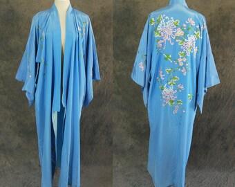 vintage 70s Embroidered Kimono - Blue Floral Kimono Robe Bird Embroidered Asian Robe Duster S M L